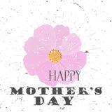 Het gelukkige concept van de Moeder` s Dag met kosmosbloem en het Van letters voorzien Typografie met uitbarsting op een Oude Gew Stock Foto's
