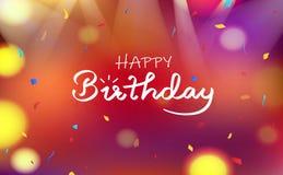 Het gelukkige concept van de verjaardagskaart, van de Achtergrond vieringspartij onscherpe kleurrijke abstracte decoratiedocument vector illustratie