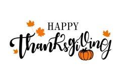 Het gelukkige Dankzegging Van letters voorzien stock foto