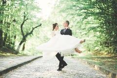 Het gelukkige de bruid en de bruidegom stellen van het huwelijkspaar in een botanisch park royalty-vrije stock foto