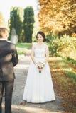Het gelukkige de bruid en de bruidegom stellen van het huwelijkspaar in een botanisch park royalty-vrije stock afbeelding