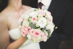 Het gelukkige de bruid en de bruidegom stellen van het huwelijkspaar in een botanisch park stock foto's