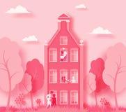Het gelukkige de dag 3d abstracte document van Valentine ` s sneed illustratie van roze document kunstlandschap met document besn stock illustratie