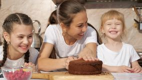 Het gelukkige de familiemamma en dochters koken samen verjaardagscake stock videobeelden