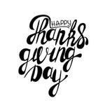 Het gelukkige de hand van de dankzeggingsborstel van letters voorzien, geïsoleerd op witte achtergrond Kalligrafie vectorillustra royalty-vrije illustratie