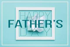 Het gelukkige de Pastelkleursuikergoed van de Vader` s dag kleurt Achtergrond Vlak leg de kaart van de minimalismgroet met omlijs stock illustratie