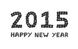 'Het Gelukkige die Nieuwjaar van 2015' met koffiebonen wordt geschreven Royalty-vrije Stock Fotografie