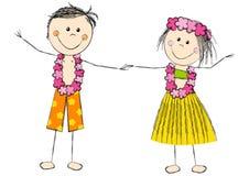 Het gelukkige die paar van Hawaï op wit wordt geïsoleerd Stock Foto