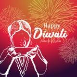 Het gelukkige Diwali-groetontwerp met kinderen overhandigt getrokken en brandende diyaillustratie stock illustratie