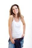 Het gelukkige donkerbruine vrouw glimlachen Royalty-vrije Stock Afbeelding