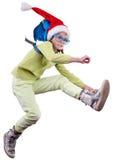 Het gelukkige, en meisje zich omhoog lopen springen of reiziger die van de Kerstmiskerstman de haasten Stock Afbeelding