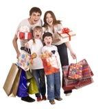 Het gelukkige familie en kinderen winkelen. Stock Afbeeldingen