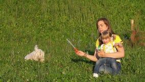 Het gelukkige familie glimlachen Mooie familie die in de zomerpark van aard genieten Langzame Motie stock videobeelden