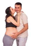 Het gelukkige familie kussen Stock Foto's