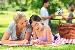 Het gelukkige familie picnicking Stock Foto