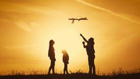 Het gelukkige familie spelen met een vlieger terwijl op weide, zonsondergang, in de zomerdag Grappige familietijd Het gelukkige m stock footage