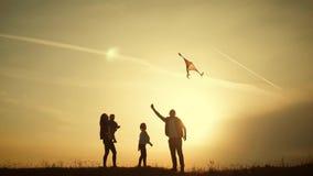Het gelukkige familie spelen met een vlieger terwijl op weide, zonsondergang, in de zomerdag Grappige familietijd Het gelukkige m stock videobeelden