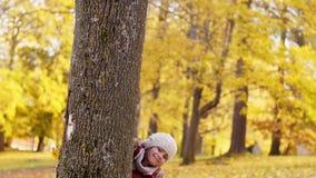 Het gelukkige familie verbergen achter boom bij de herfstpark stock videobeelden