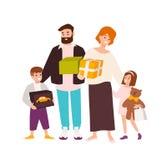 Het gelukkige familie winkelen Vrolijk moeder, vader, dochter en zoonsholdingsspeelgoed en giftdozen Leuke beeldverhaalkarakters vector illustratie