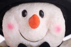 Het gelukkige gezicht van de sneeuwman Stock Foto's