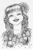 Het gelukkige glimlachende meisje van de Zentangleillustratie met vlechten Royalty-vrije Stock Afbeelding