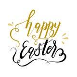 Het gelukkige gouden en zwarte van letters voorzien van Pasen Stock Foto