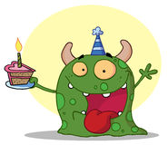 Het gelukkige groene monster viert verjaardag met cake Royalty-vrije Stock Afbeelding