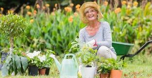 Het gelukkige grootmoeder tuinieren royalty-vrije stock afbeelding