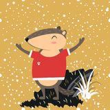 Het gelukkige Groundhog-Dagontwerp met leuke marmottribune op groen gras, voorspelling van weer, dier beklom uit grond Stock Afbeelding