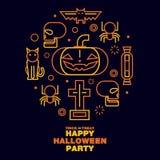 Het gelukkige Halloween-Symbool van de Kaartpictogrammen van de Partijgroet - vlakke Vector Royalty-vrije Stock Fotografie