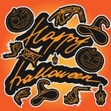 Het gelukkige Halloween-Van letters voorzien royalty-vrije stock afbeeldingen