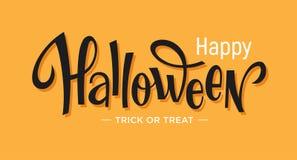 Het gelukkige Halloween-van letters voorzien op oranje achtergrond Royalty-vrije Stock Afbeelding