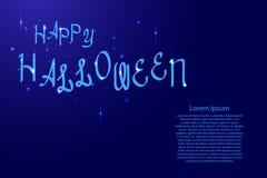 Het gelukkige Halloween-van letters voorzien, vakantiekalligrafie met luminescentiesterren voor banner, affiche, de partijuitnodi royalty-vrije illustratie
