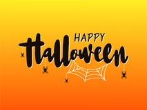 Het gelukkige Halloween-Van letters voorzien Vakantiekalligrafie met spin en Web voor banner, affiche, groetkaart, uitnodiging royalty-vrije illustratie