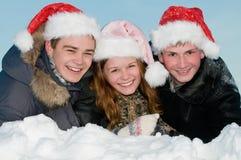 Het gelukkige het glimlachen jonge mensen liggen Royalty-vrije Stock Afbeelding