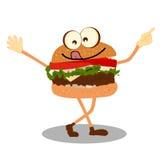 Het gelukkige het Karakter van het Hamburgerbeeldverhaal Golven Royalty-vrije Stock Fotografie