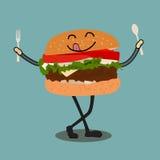Het gelukkige het Karakter van het Hamburgerbeeldverhaal Golven royalty-vrije illustratie