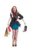 Het gelukkige het winkelen vrouw lachen stock foto