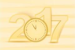 Het gelukkige Houten Nieuwjaaraantal kijkt Geel & Gouden Stock Foto