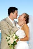 Het gelukkige huwelijkspaar glimlachen stock foto's