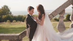 Het gelukkige huwelijkspaar streelt en kust elkaar op treden stock video