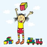 Het gelukkige jonge geitje, het meisje en het stuk speelgoed, dobbelen, kubussen en trein Royalty-vrije Stock Foto's