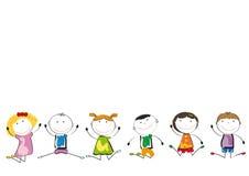 Het gelukkige jonge geitjes spelen Stock Afbeelding