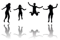 Het gelukkige jonge geitjes springen Stock Afbeelding
