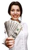 Het gelukkige jonge geld van de vrouwenholding stock foto's