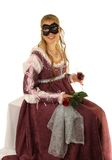 Het gelukkige Jonge meisje met rood nam toe Royalty-vrije Stock Fotografie