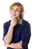 Het gelukkige jonge mens denken royalty-vrije stock fotografie