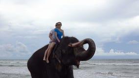 Het gelukkige jonge paar berijdt op een olifant met boomstam omhoog op de achtergrond van een tropische oceaan stock footage