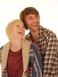 Het gelukkige jonge paar lachen Royalty-vrije Stock Foto's