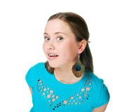 Het gelukkige jonge vrouw geïsoleerdi glimlachen Stock Afbeelding